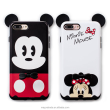 Factory 2 in 1 Ring Holder Case, TPU+PC Cartoon Mickey Minnie Phone Stand Holder Silicone Cover Case for iPhone X 8 Plus