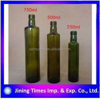 round shape 250ml/500ml/750ml dark green olive oil bottle