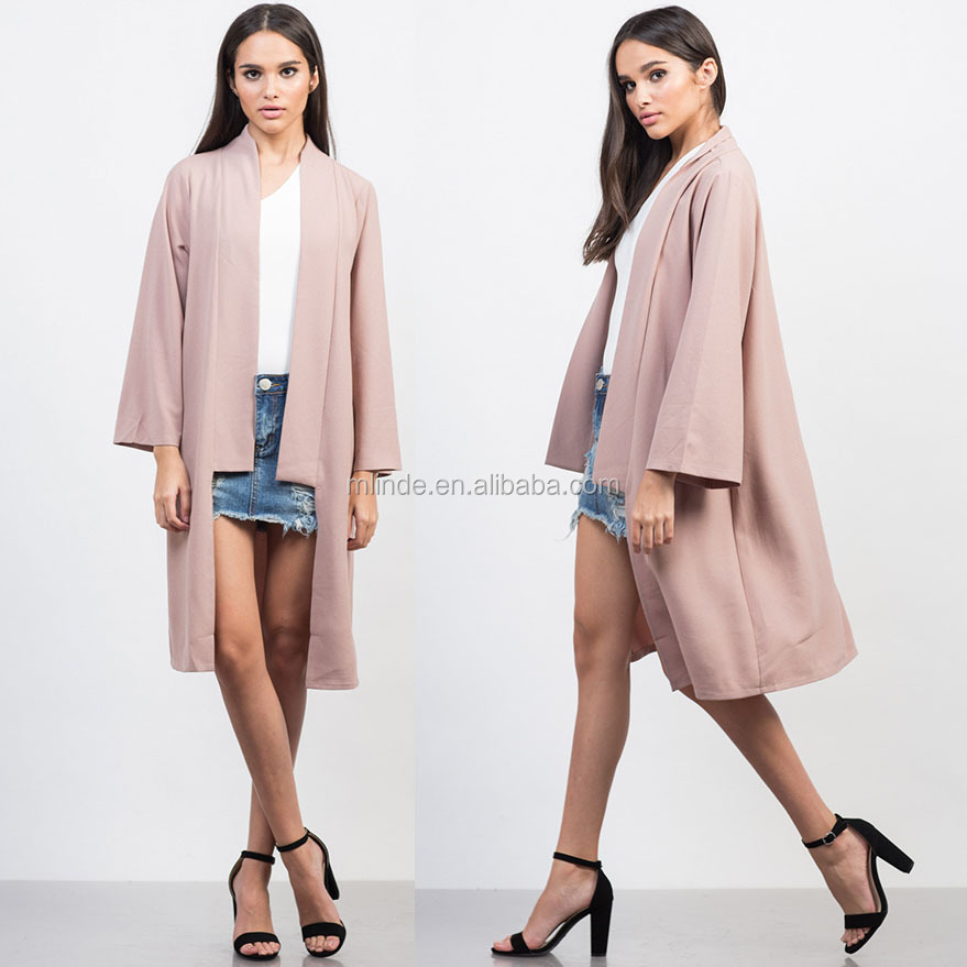 Womens Clothing Jacket 100% Polyester Swinging Sleeves Mid-Length Flowy Open Front Fashion Kimono Jacket For Women