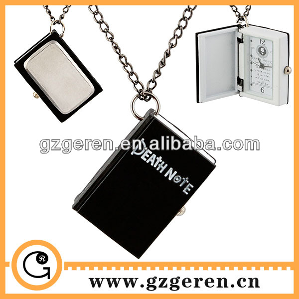 Popular cartoon death note quartz pocket watches with long chain made in guangzhou