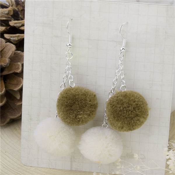 Cashmere Ear Hook Earrings Silver Plated Coffee & White Round Pom Ball 70mm x 20mm