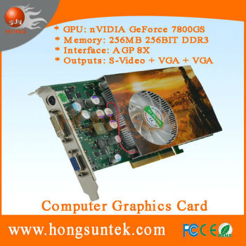 NVIDIA P492 7800 GS AGP 256MB 256BIT DDR3 S-Video VGA DVI Game nvidia agp video card