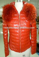 Ladies bright color goose down leather jacket with big fur collar