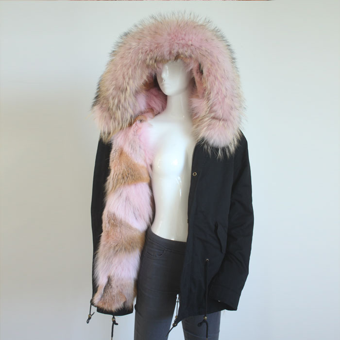 Myfur Ladies Navy Cotton Shell Parka with Pink Fox Patchwork Fur Lining Raccoon Fur Hooded