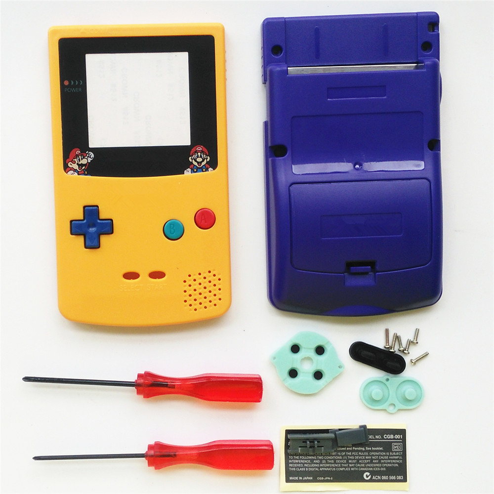 For GBC Mario Version Yellow & Blue Housing Shell For GBC Housing Case Pack