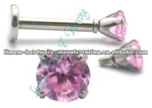 internal threaded labret with Crystal Ball 1.2mm 16G, Surgical Steel 316L piercing jewelry