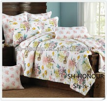 Shanghai Honour hand embroidered indian cotton fancy digital printed bed sheet