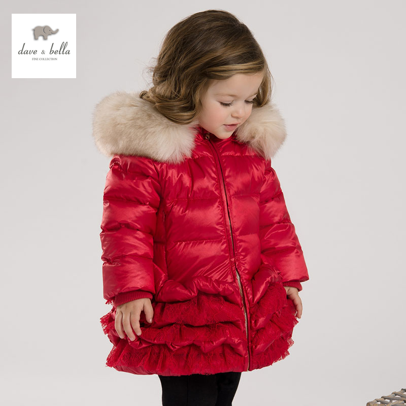 DB3390 dave bella 2015 winter infant coat baby padded jacket girls padded coat girls down coat down jacket