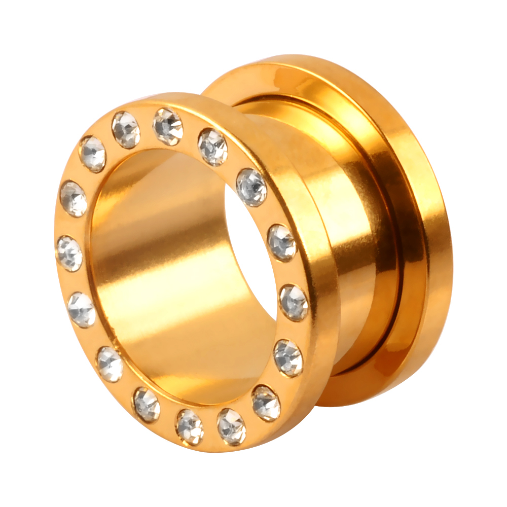 Glued Gem Gold Plated Stainless Steel Flesh Tunnel Externally Threaded Ear Piercing Jewelry