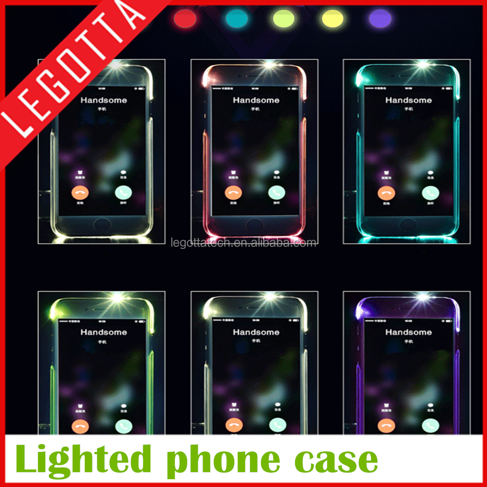 Free sample call incoming shinning led flash phone cover for iPhone 6s Plus