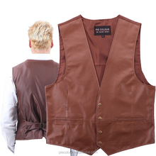 Western Cowboy Leather Vest Waistcoat Genuine Retro Classic Motorcycle The wind Environmental Protection leather Men's WOMen's