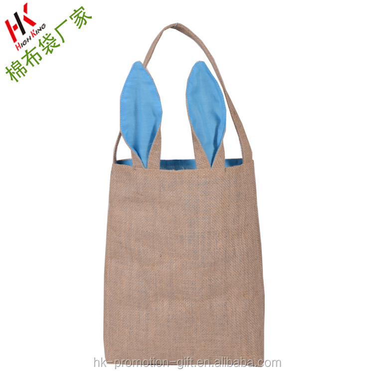 Easter Bunny Bags Rabbit Ears Shape Fine Workmanship Jute Cloth Material Easter Gift Packing For Child.