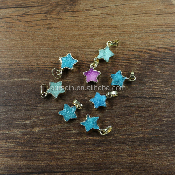 LS-D3158 Wholesale Natural Tiny Druzy Star Pendants