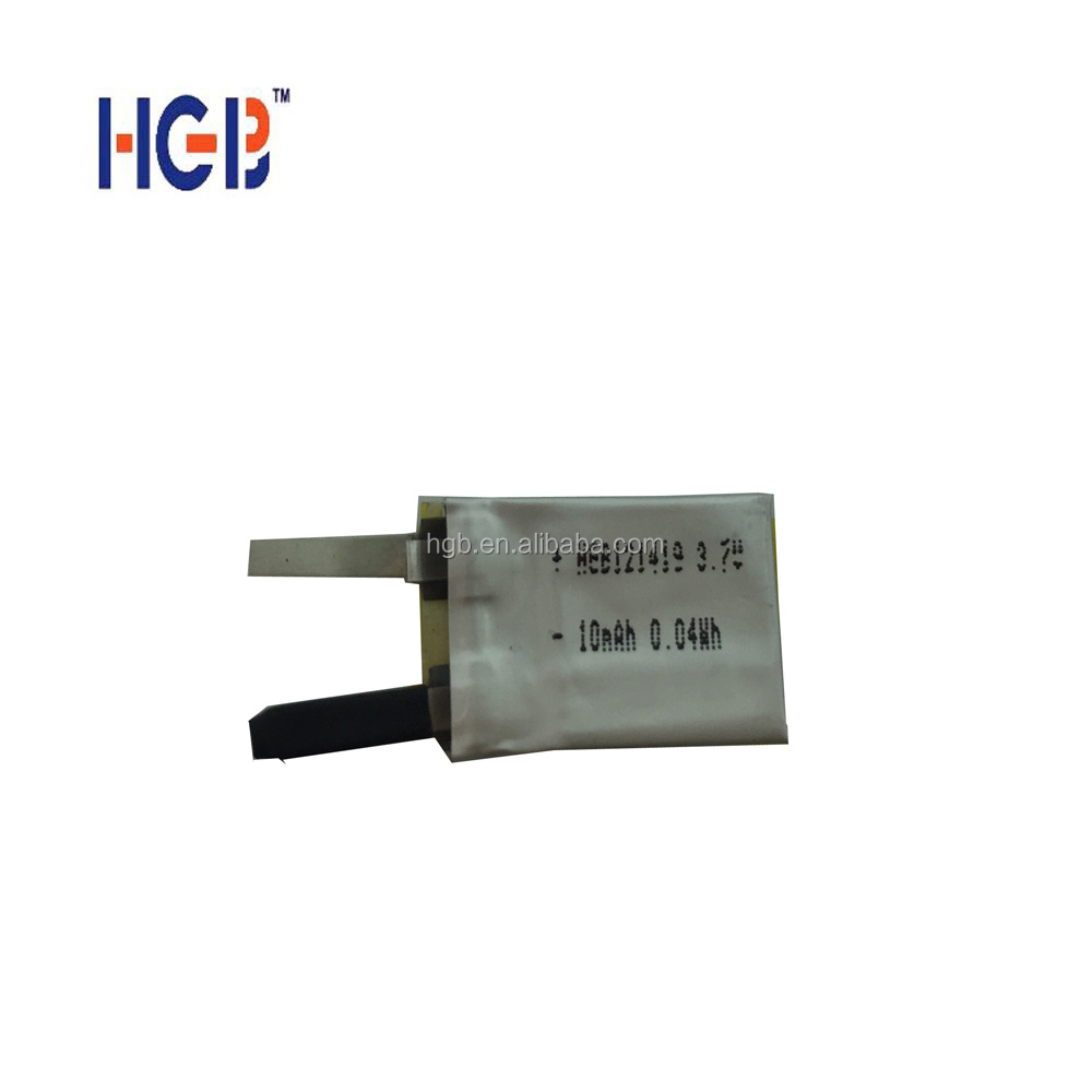 high quality HGB121419 10mAh 3.7V rechargebale lithium ion wearable battery for smart-watch/ bluetooth devices/medical device
