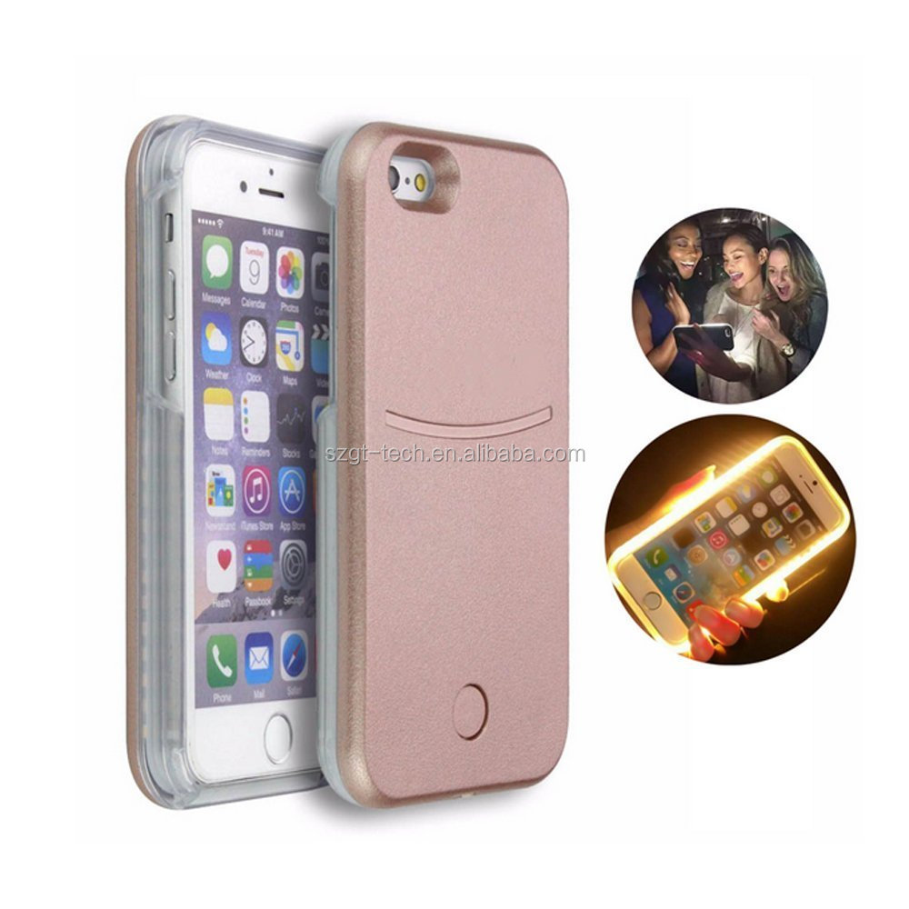 For iPhone 7 apple iPhone LED Selfie light Case,Illuminated Case For iPhone 7 plus,PC case for i Phone 7 apple mobile phone