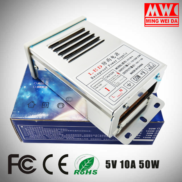 FY-50-5 wall plate frame 5v 10a 50w rainproof led driver switching power supply for Factory Supplier