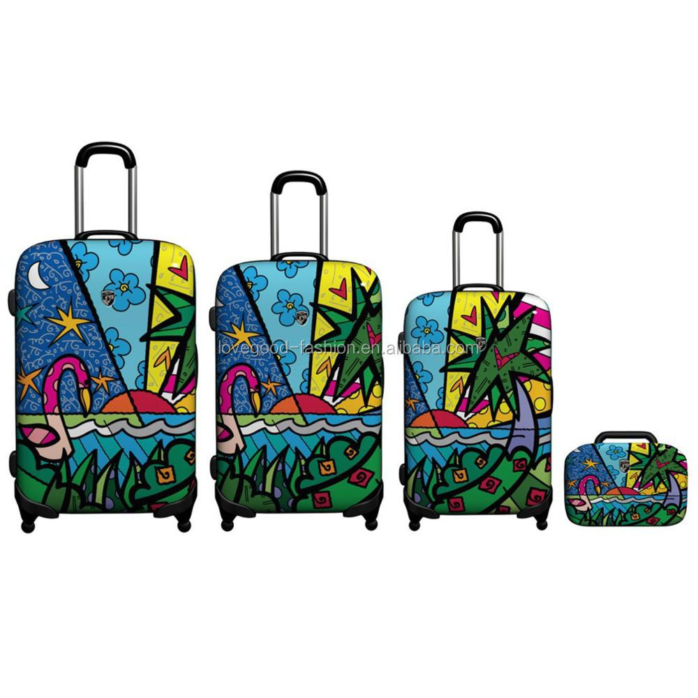 4-PCS Palm Tree Printing Hard Shell Light Weight Trolley Luggage with 360 Degree Hinomoto Spinner Wheels
