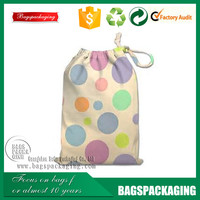 8OZ colorful circle printing cotton drawstring promotion bag
