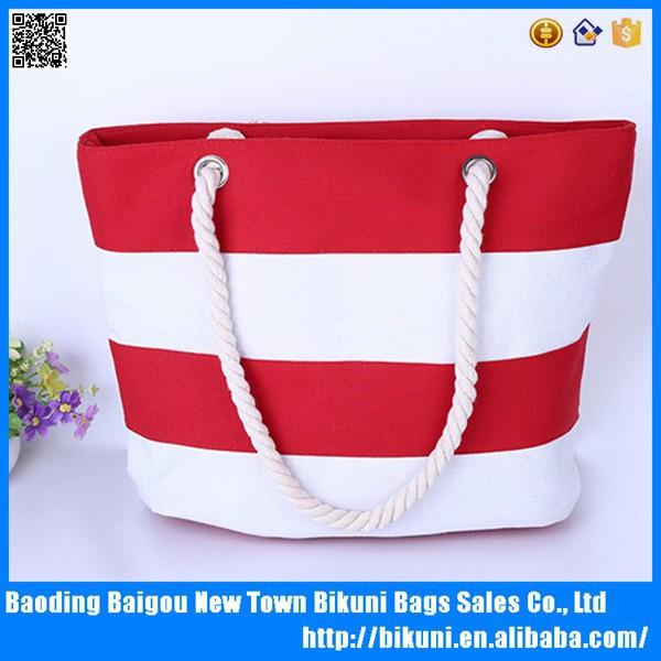 New Arrival Stripe Beach Canvas Tote Bag
