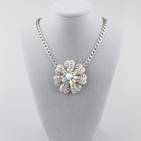 Silver Necklace Jewelry Crystal Flower Pendant Necklace