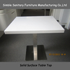 Wooden square dining tables solid surface composite marble top dining table