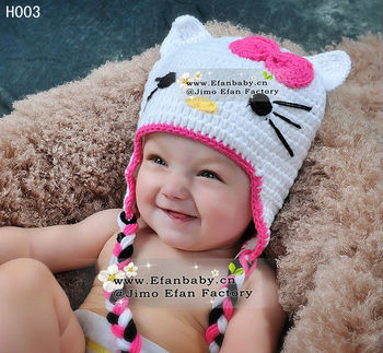 2013 new cute handmade crochet animal beanie hats with ears children girls kitty caps perfect baby gift