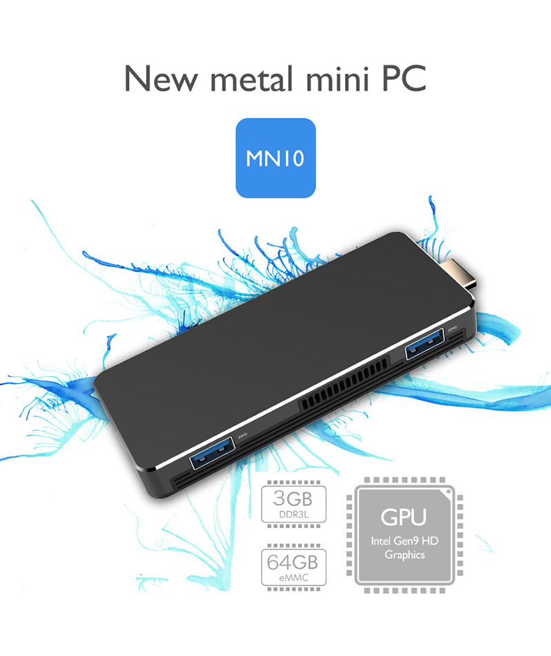 Intel Apollo lake N3350 3GB RAM 64GB storage mini pc stick with dual USB 3.0