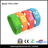 Cheap wholesale silicone bracelet usb 2.0 1gb 2gb 8gb usb flash drives bulk with light ( PVC-LY007 )