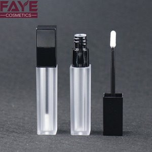 Custom matte black cap lip gloss bottle frosted square plastic cosmetic container wholesale lipgloss tube packaging