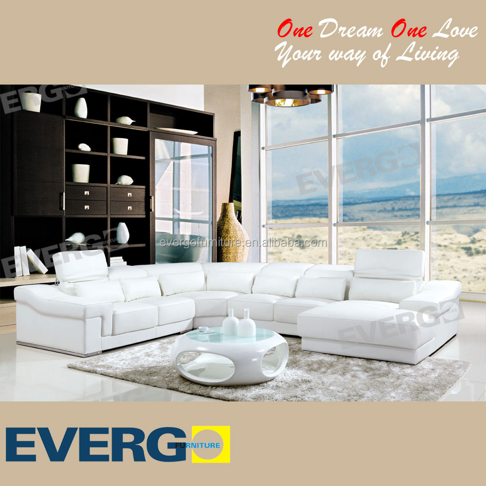 Evergo home furniture living room leather sectional sofa set design