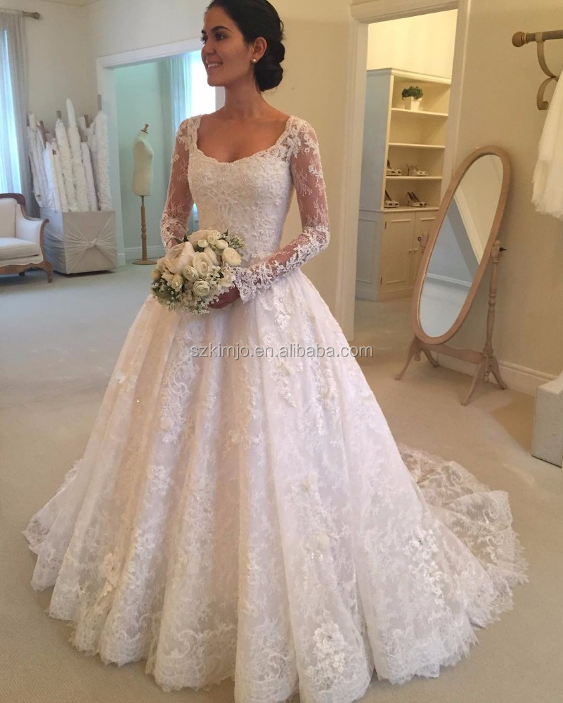 Lace Wedding Dress Patterns Long Sleeve A Line Beaded Elegant Bridal ...