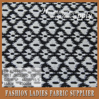 2016 onway latest fabric T/C/R/SP 65/15/15/5 y/d knit jacquard fabric with black and white diamonds for girl's garment