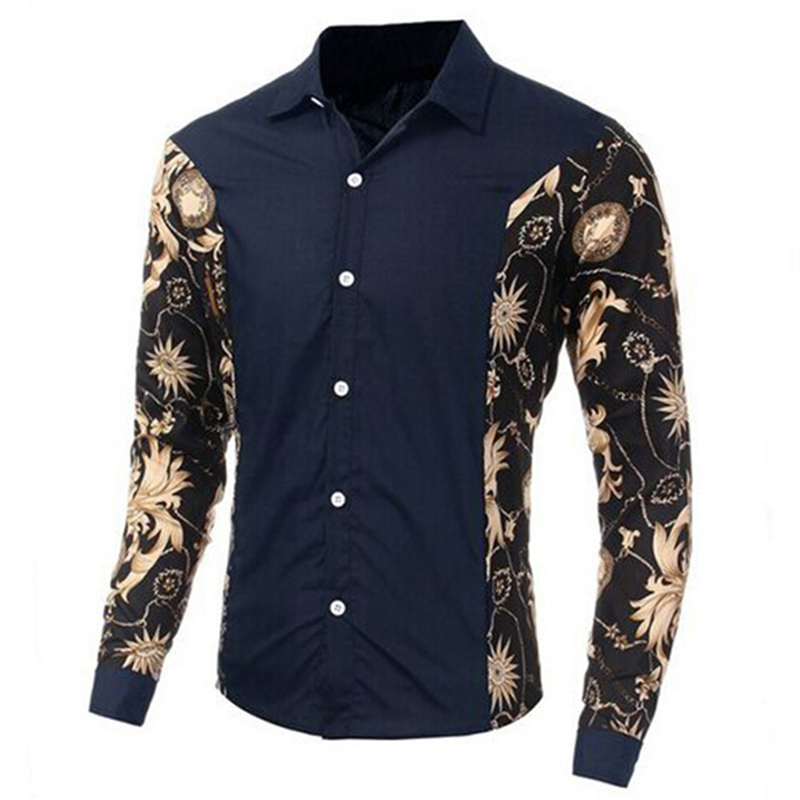 New Arrival 2015 Fashion Men's Cotton Shirt casual Slim Long Sleeve Printing Turn-down Collar Hawaii  Linen Floral Shirts FHY2