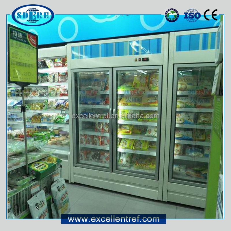upright chiller freezer showcase for dairy display in supermarket