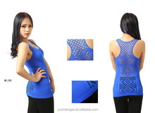 women seamless jacquard mesh racer back rib tank top
