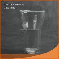 440ml hot selling wide mouth round transparent double wall glass cup