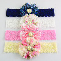 Colorful Floral Lace Mesh Flower Elastic Headband With Pearl Center,Hair Accessories Baby Headband