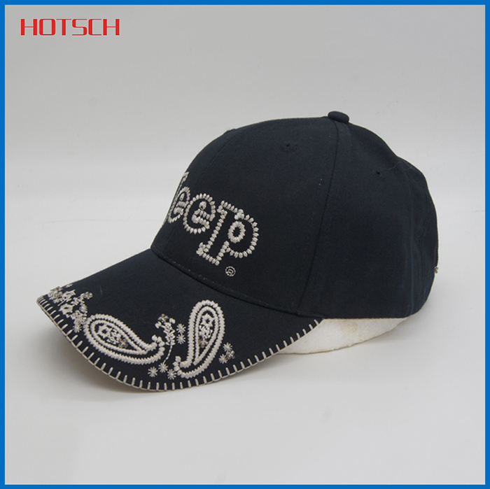 5 panels Ordinary embroidery black fashion baseball hats and caps