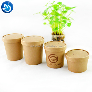 disposable paper soup cup with lid,biodegradable hot soup cup drinking