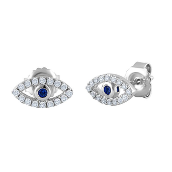 Evil Eye Jewelry 925 Sterling Silver CZ Stud Earring