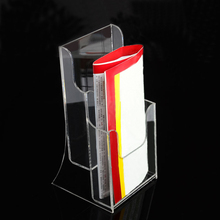Desktop Clear Acrylic A5 Brochure Holder with Double Pockets