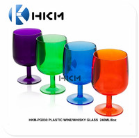 Factory offer colorful, short stem, unbreakable whisky/brandy glass/wine glass