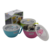 0.9L portable stainless food bowl with lid