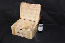 6 Bottle Wooden Wine Boxes , Wooden Wine Crates With Rope Hand
