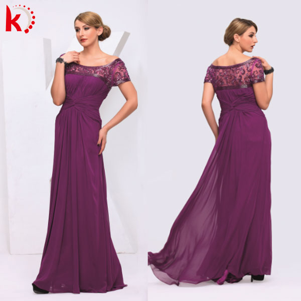 Elegant short sleeve mother of the bride evening sequins beaded dresses kt1081