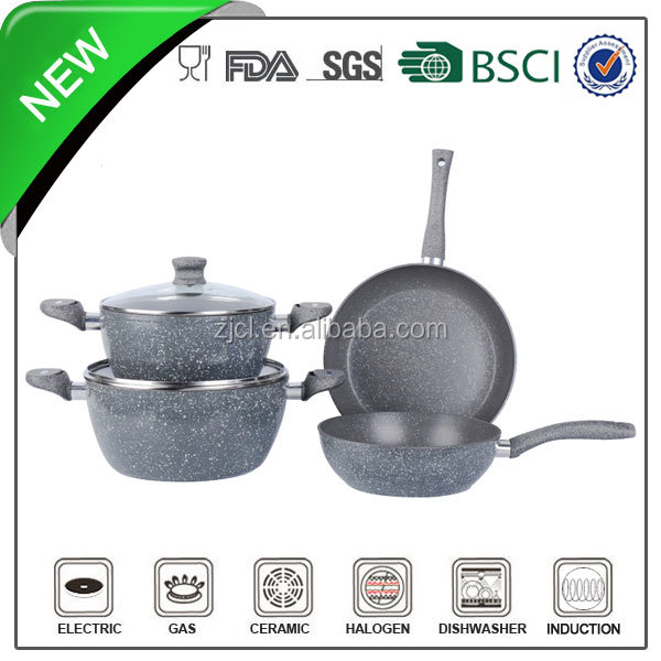 6pcs marble coating aluminum magic cookware