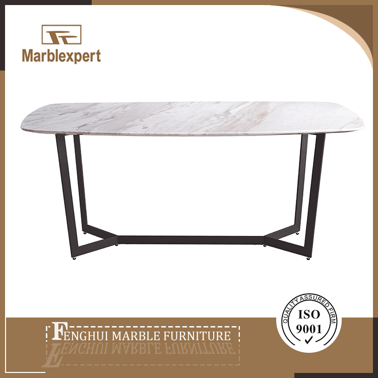 Fancy white marble top dining table with iron plate leg