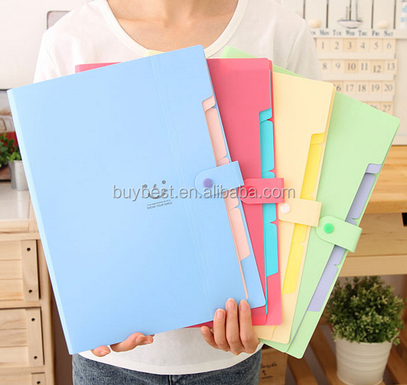 Multifunctional a4 file bag candy pp file folder data book orgnan bag office supplies