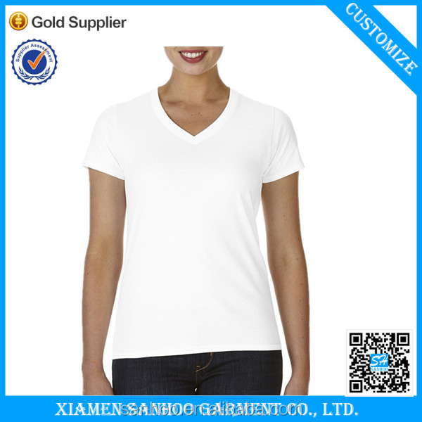 OEM Service Cotton Womens V Neck White T-Shirts Wholesale Blank Tshirt Cheap From China Manufacturer
