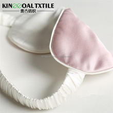 High quality adjustable lightweight 100% mulberry silk sleep mask pink and white contrast color